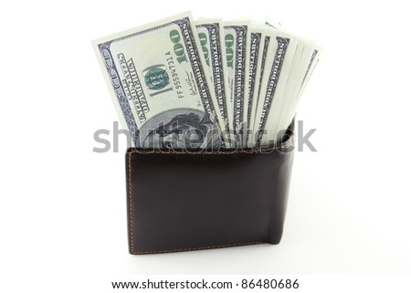 Pocket Money, The many dollars banknote in brown leather purse.