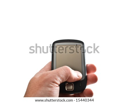 Pocket PC in hand isolated on white