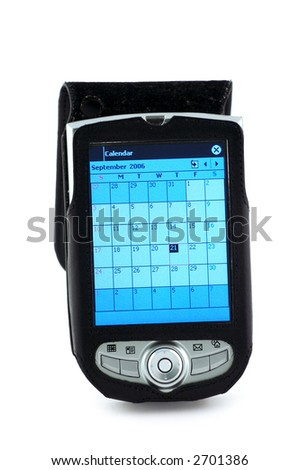 Pocket pc with Calendar scheduler window. Clipping path included.