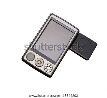 Pocket Pc with gps module isolated on white
