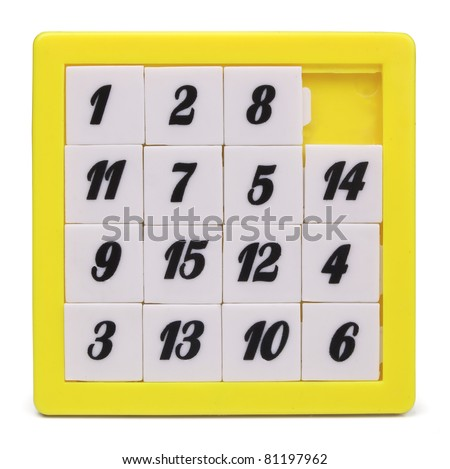 Pocket sliding fifteen puzzle game isolated on white