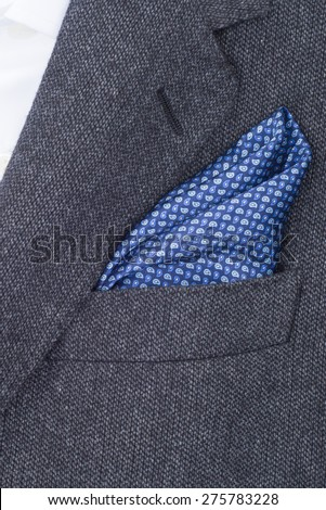 pocket square dark blue texture - handkerchief in the breast pocket of a man\'s suit