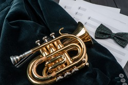 Pocket trumpet on a dark green jacket, top view. Beautiful shot of musician's accessories completed with bow tie and sheet music.