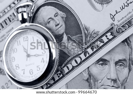 Pocket watch and banknotes. Time is money concept