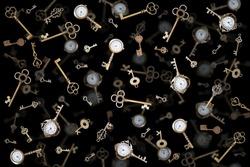 pocket watch and old keys. Vintage Wonderland background.