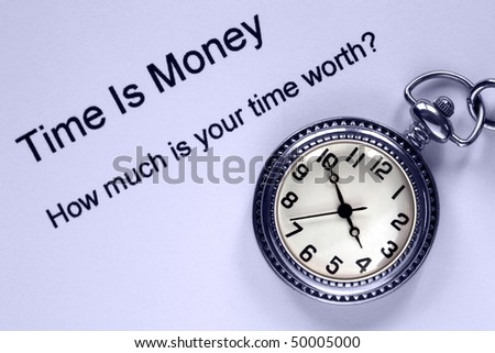 Pocket watch and time is money text, concept analogy for personal and business efficiency.
