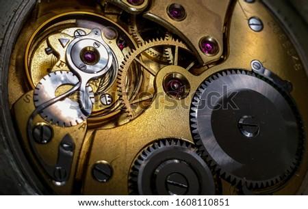Pocket watch hand wound mechanism upclose