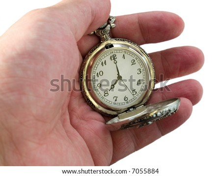 pocket watch in the arm. 8 c'clock. time concept