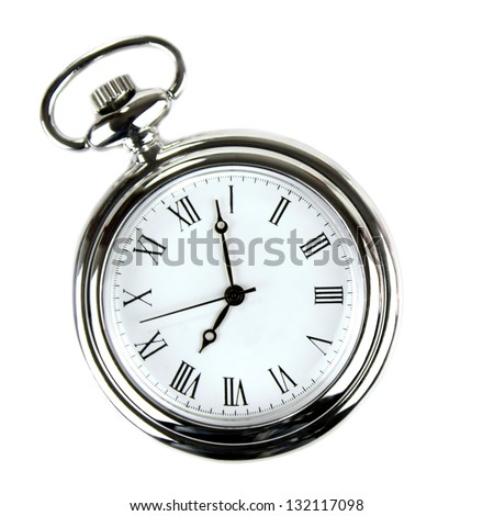 Pocket watch on white background.