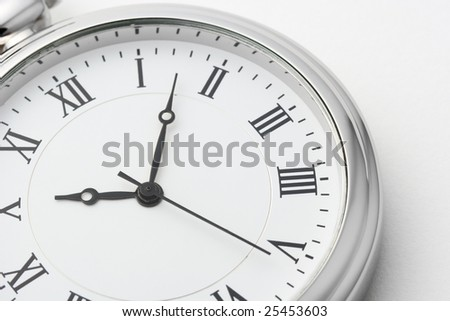 Pocket watch on white background