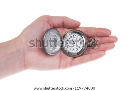Pocket Watches on the hand isolated on white