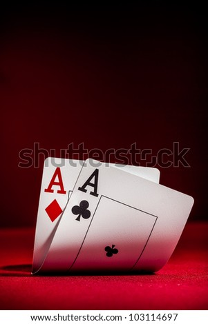 Pockets Aces with plenty of red background for textcopy - stock photo