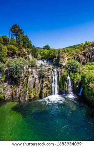 Poco da Broca Waterfall - Barriosa, Sierra Estrella, Portugal, Europe Foto stock ©