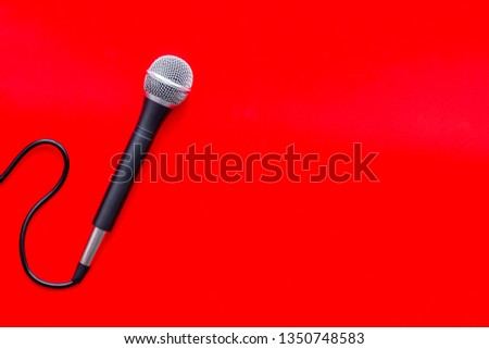 podcast record with microphone on red background top view space for text #1350748583