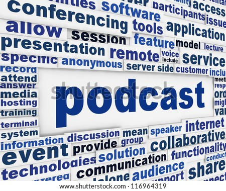 Podcast technical message background. Online media poster design - stock photo