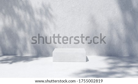 Photo of  Podium for packaging presentation and cosmetic, shadow on wall.  Product display with white concrete texture , stone texture, Natural beauty pedestal in sunlight. realistic rendering. 3d illustration