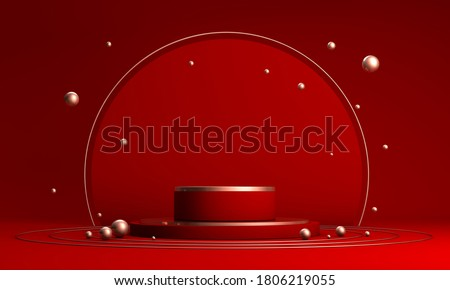 Podium, pedestal or platform, background for the presentation of cosmetic products. 3d podium. Place for ads.3D rendering red podium geometry with gold elements. Product presentation blank podium.