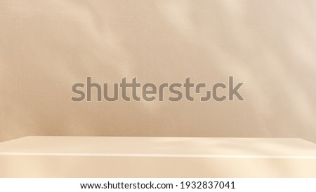 Podium, showcase on pastel stucco background. Abstract geometric composition with branch and shadow on the wall -3D render. Mock up for exhibitions, presentation and branding products, health care.