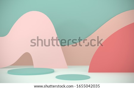 Podium, stand for advertising products on the background of papercut - 3D, render. Abstract, bright background from paper elements. Modern illustration for spring and summer holidays with copy space.
