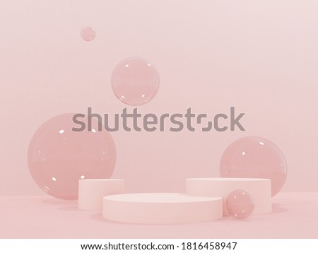 Podium, stand on pastel light, beige background with flying balls, spheres. Abstract bubbles for party, festival, celebration. Mock up for  exhibitions, presentation of products, cosmetics -3D render.
