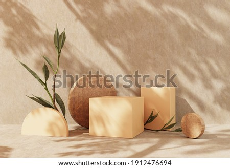 Podium, stand on pastel light stucco background. Unobtrusive background with plant and shadow on the wall -3D render.Mock up for exhibitions, presentation of products, therapy, relaxation and health.