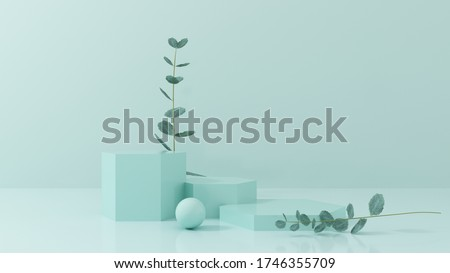 Podium, stand, showcase on pastel light, mint background for premium product with nature plant, leaves. Mock up for exhibitions, presentation of products, therapy, relaxation and health -3d render.
