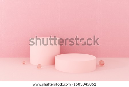 Podium, stand, showcase on pastel light, pink background for premium product. Luxury background for advertising goods, items, bags, shoes. Stylish trendy illustration, graphic design -3D, render.