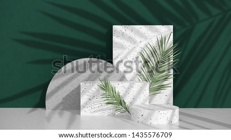 Podium,stand,with terrazzo and stone,on bright background of green wall with shadow of tropical palm leaves.Showcase for cosmetic products and goods,shoes,bags,watches -  illillustration - 3D, render.