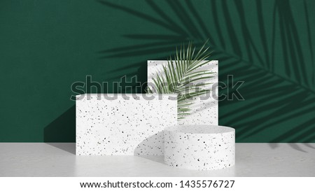Podium,stand,with terrazzo and stone,on bright background of green wall with shadow of tropical palm leaves. Showcase for cosmetic products and goods,shoes,bags,watches -illillustration - 3D, render.