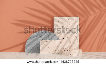 Podium, stand with terrazzo and stone, on pastel wall background with shadow of tropical palm leaves. Showcase for cosmetic products and goods, shoes, bags, watches - simple illustration - 3D, render.