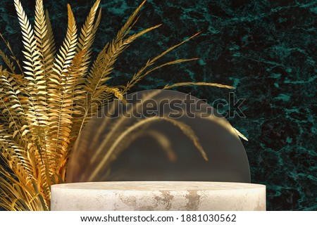 Podium to display items made of marble rock with a decorative gold metal fern.Fortuna gold, set sail champagne and tidewater green 2021 trend colors. 3d render illustration. Zdjęcia stock ©