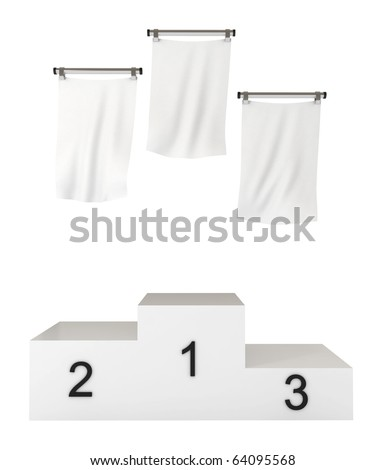 Podium, winners, with blank flags, clipping path included, 3d illustration, isolated on white