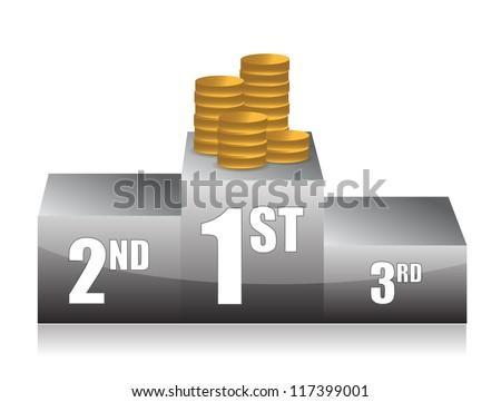 podium with coins illustration design over white
