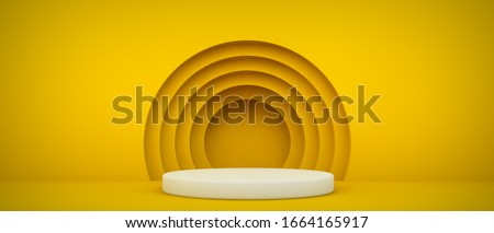 podium with yellow circles 3d rendering background