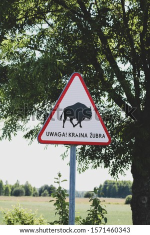Podlasie road signs in Siemianowka Zdjęcia stock ©