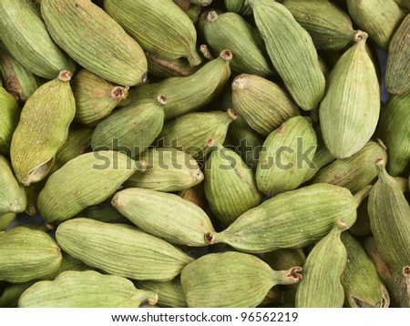 Pods of green cardamom - closeup, can be used as a background