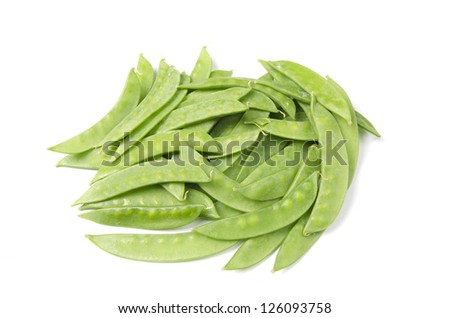Pods of green pea sweet isolated on white