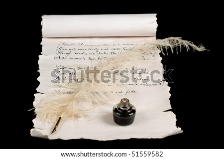 Poetry on old paper scroll. Text is Shakespeare's Sonnet 18.