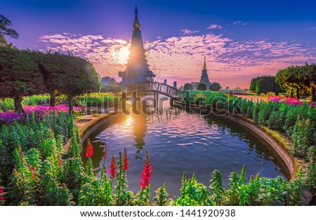 Pogoda in Doi inthanon mountain with morning sunrise in Chaingmai, Thailand Zdjęcia stock ©