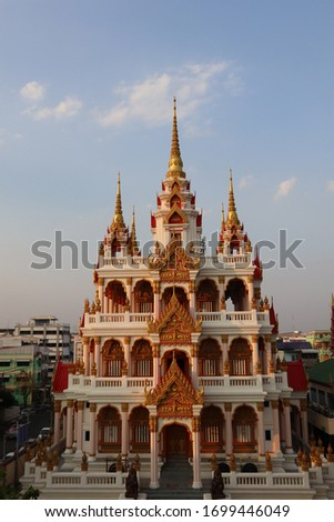 pogoda which is as tall as a 5-story building built to contain the teachings of Buddhism, Buddhists and followers who follow the teachings at watklang twmple of surin province. Zdjęcia stock ©
