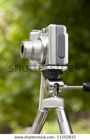point and shoot digital camera on tripod