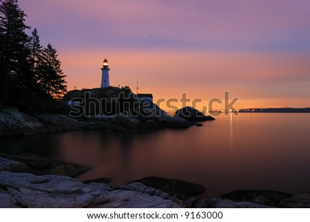 point atkinson lighthouse in twilight