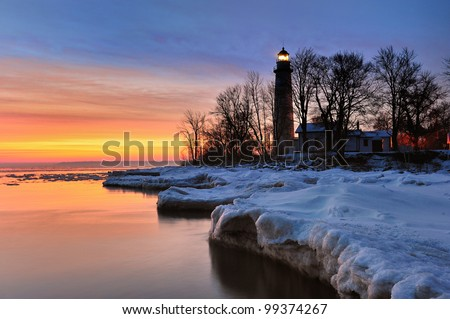 Point Aux Barques Lighthouse - Beautiful Winter Sunrise on Lake Huron  Port Hope, Michigan USA
