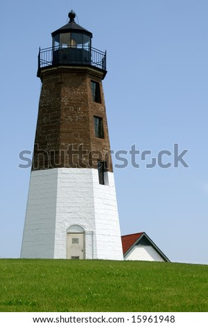 Point Judith Lighthouse, Rhode Island, Vertical With Copy Space