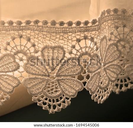 Point lace pattern on a curtain  Stok fotoğraf ©