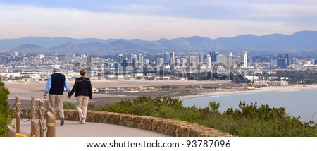 Point Loma Hillside at Cabrillo National Monument Over-Looking City of San Diego, California USA