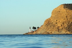 Point Loma lighthouse at entrance to San Diego Bay California at sunrise