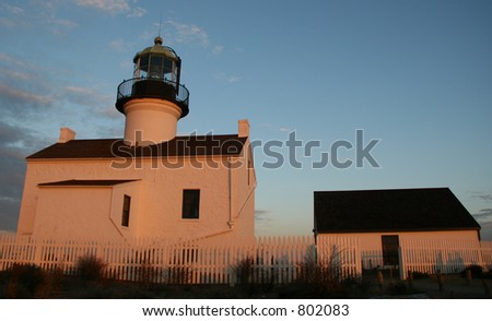 Point loma lighthouse at sunset