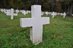 Point Lookout Cemetery featuring unmarked crosses for dead bodies of prisoners on the property of the Louisiana State Penitentiary in West Feliciana Parish, Louisiana