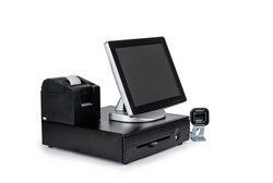 Point of sale touch screen system with thermal printer and cash drawer isolated on white
